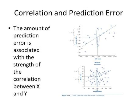 Correlation and Prediction Error The amount of prediction error is associated with the strength of the correlation between X and Y.