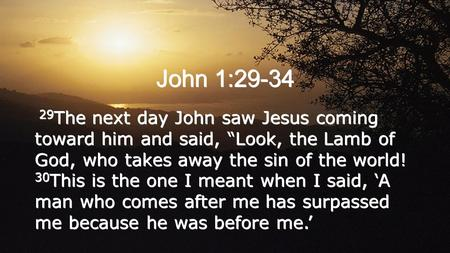 "John 1:29-34 29 The next day John saw Jesus coming toward him and said, ""Look, the Lamb of God, who takes away the sin of the world! 30 This is the one."