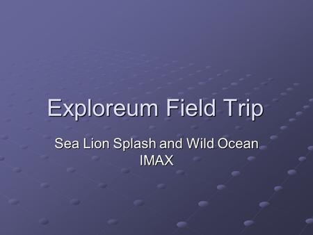 Exploreum Field Trip Sea Lion Splash and Wild Ocean IMAX.