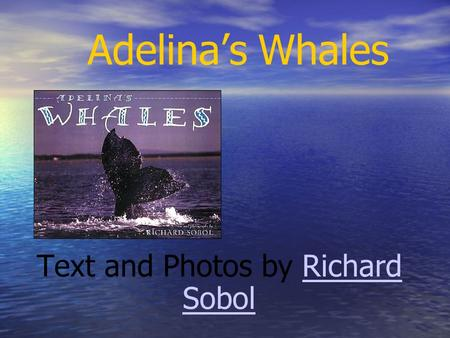 Adelina's Whales Text and Photos by Richard SobolRichard Sobol.