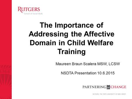 The Importance of Addressing the Affective Domain in Child Welfare Training Maureen Braun Scalera MSW, LCSW NSDTA Presentation 10.6.2015.