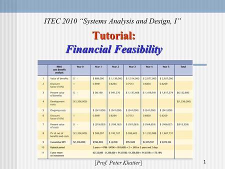 "1 Tutorial: Financial Feasibility ITEC 2010 ""Systems Analysis and Design, I"" [Prof. Peter Khaiter]"