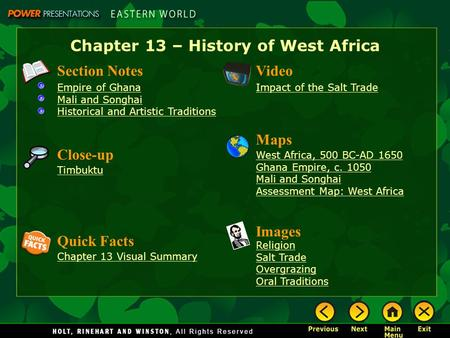 Chapter 13 – History of West Africa