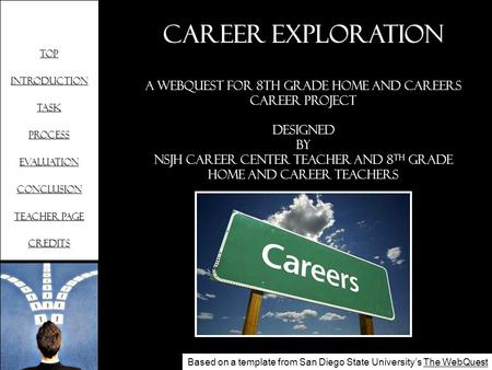 Top Introduction Task Process Evaluation Conclusion Teacher page Credits Career Exploration A WebQuest for 8th Grade Home and Careers Career Project Designed.