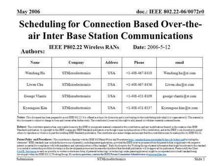 Doc.: IEEE 802.22-06/0072r0 Submission May 2006 STMicroelectronics Slide 1 Scheduling for Connection Based Over-the- air Inter Base Station Communications.