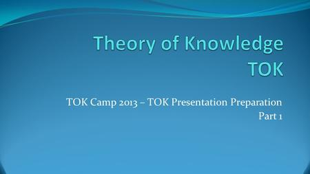 how to make knowledge question tok