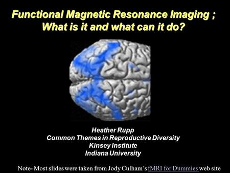 Functional Magnetic Resonance Imaging ; What is it and what can it do? Heather Rupp Common Themes in Reproductive Diversity Kinsey Institute Indiana University.