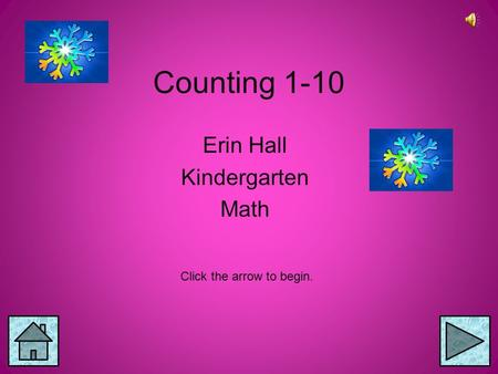 Counting 1-10 Erin Hall Kindergarten Math Click the arrow to begin.