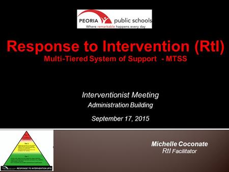 Michelle Coconate RtI Facilitator Interventionist Meeting Administration Building September 17, 2015.