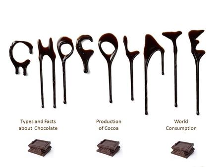 Types and Facts about Chocolate Production of Cocoa World Consumption.