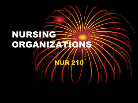 "NURSING ORGANIZATIONS NUR 210. American Nurses Association National, state and local AACN Accredits educational providers ""AJN"""