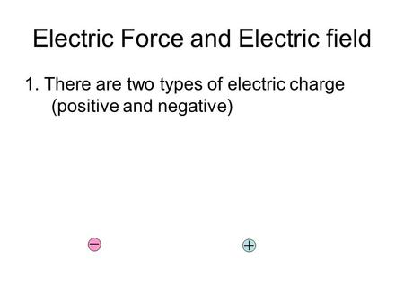 Electric Force and Electric field 1. There are two types of electric charge (positive and negative)