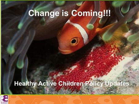 Change is Coming!!! Healthy Active Children Policy Updates.