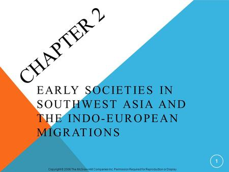 Copyright © 2006 The McGraw-Hill Companies Inc. Permission Required for Reproduction or Display. CHAPTER 2 EARLY SOCIETIES IN SOUTHWEST ASIA AND THE INDO-EUROPEAN.