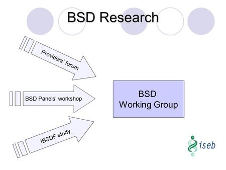 BSD Working Group Providers' forum BSD Panels' workshop IBSDF study BSD Research.