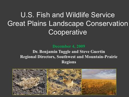 U.S. Fish and Wildlife Service Great Plains Landscape Conservation Cooperative December 4, 2009 Dr. Benjamin Tuggle and Steve Guertin Regional Directors,