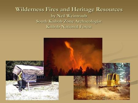 Wilderness Fires and Heritage Resources by Neil Weintraub South Kaibab Zone Archaeologist Kaibab National Forest.