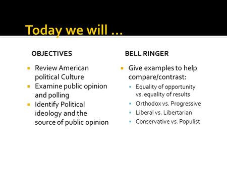 OBJECTIVES  Review American political Culture  Examine public opinion and polling  Identify Political ideology and the source of public opinion BELL.