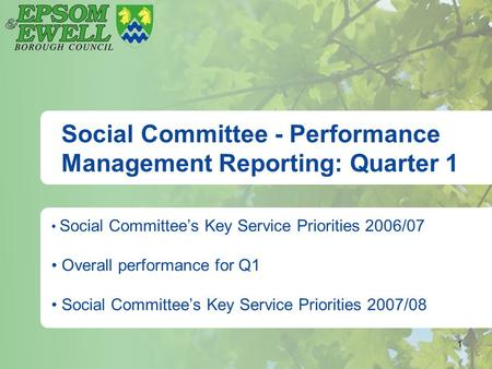 1 Social Committee - Performance Management Reporting: Quarter 1 Social Committee's Key Service Priorities 2006/07 Overall performance for Q1 Social Committee's.