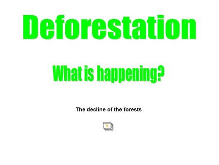 The decline of the forests. Every second an area the size of a football field in the rain forest around the world vanishes. Rain forests covered 14% of.