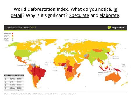 World Deforestation Index. What do you notice, in detail? Why is it significant? Speculate and elaborate.