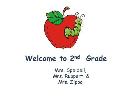 Welcome to 2 nd Grade Mrs. Speidell, Mrs. Ruppert, & Mrs. Zippo.