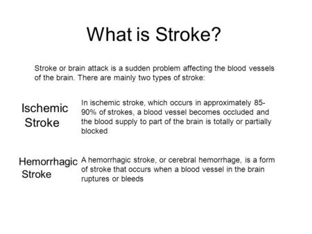 What is Stroke? Stroke or brain attack is a sudden problem affecting the blood vessels of the brain. There are mainly two types of stroke: In ischemic.