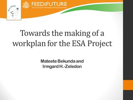 Towards the making of a workplan for the ESA Project Mateete Bekunda and Irmgard H.-Zeledon.