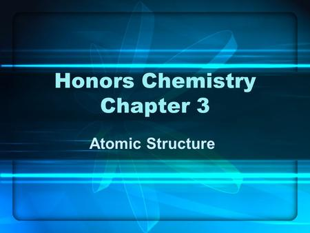 Honors Chemistry Chapter 3 Atomic Structure. I. Dalton's Theory Part 1 - elements are composed of tiny particles called atoms. Part 2 - Atoms from the.