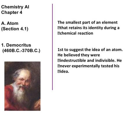 Chemistry AI Chapter 4 A. Atom (Section 4.1) 1. Democritus (460B.C.-370B.C.) The smallest part of an element that retains its identity during a chemical.