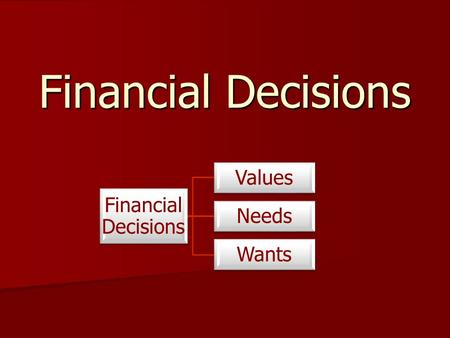 Financial Decisions Financial Decisions Values Needs Wants.