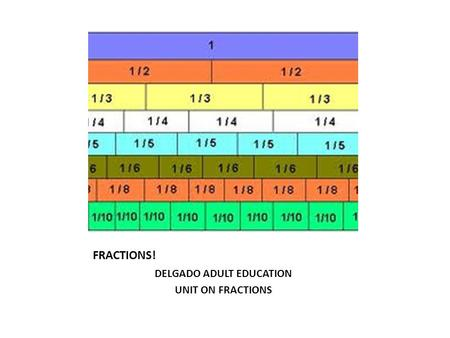 FRACTIONS! DELGADO ADULT EDUCATION UNIT ON FRACTIONS.