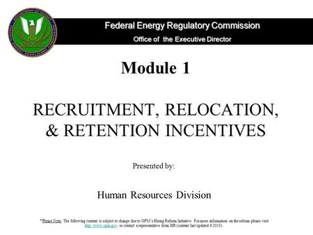 Federal Energy Regulatory Commission Office of the Executive Director Module 1 RECRUITMENT, RELOCATION, & RETENTION INCENTIVES Presented by: Human Resources.