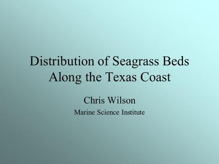 Distribution of Seagrass Beds Along the Texas Coast Chris Wilson Marine Science Institute.