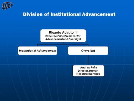 Division of Institutional Advancement Ricardo Adauto III Executive Vice President for Advancement and Oversight Institutional AdvancementOversight Andrew.
