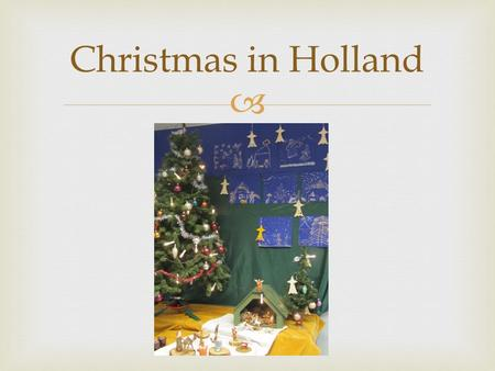  Christmas in Holland. Preparation Christmas In every classroom the children decorate their Christmas tree.