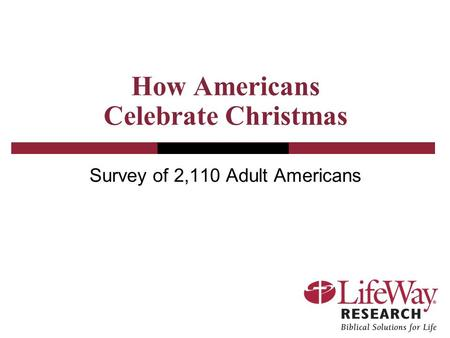 How Americans Celebrate Christmas Survey of 2,110 Adult Americans.