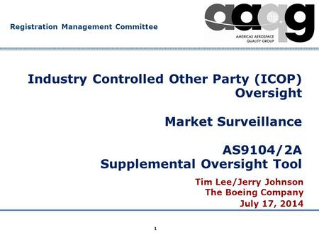 Company Confidential Registration Management Committee 1 Industry Controlled Other Party (ICOP) Oversight Market Surveillance AS9104/2A Supplemental Oversight.