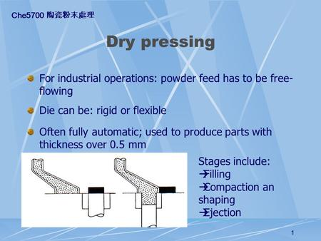 1 Dry pressing For industrial operations: powder feed has to be free- flowing Die can be: rigid or flexible Often fully automatic; used to produce parts.