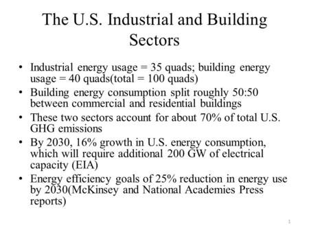 The U.S. Industrial and Building Sectors Industrial energy usage = 35 quads; building energy usage = 40 quads(total = 100 quads) Building energy consumption.