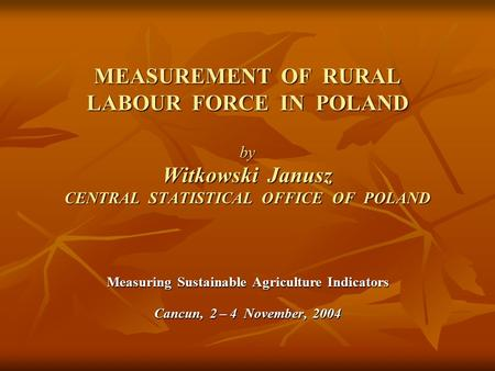 MEASUREMENT OF RURAL LABOUR FORCE IN POLAND by Witkowski Janusz CENTRAL STATISTICAL OFFICE OF POLAND Measuring Sustainable Agriculture Indicators Cancun,