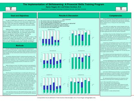 The Implementation of Skillsteaming: A Prosocial Skills Training Program Alyssa Heggen, B.A. and Kristen Davidson, B.A. Department of Counseling Psychology.