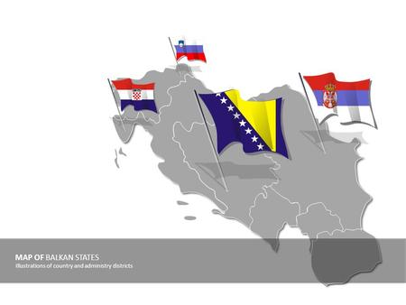 MAP OF BALKAN STATES Illustrations of country and administry districts.
