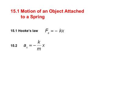 15.1 Motion of an Object Attached to a Spring 15.1 Hooke's law 15.2.