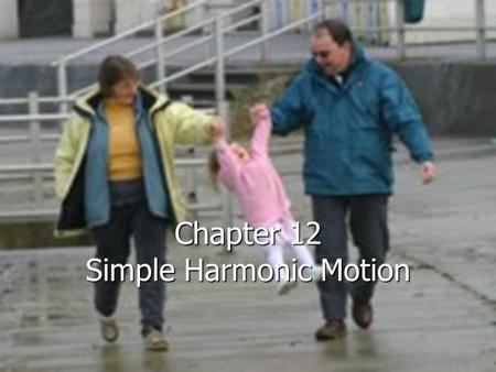 Chapter 12 Simple Harmonic Motion Photo by Mark Tippens A TRAMPOLINE exerts a restoring force on the jumper that is directly proportional to the average.
