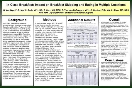 In-Class Breakfast: Impact on Breakfast Skipping and Eating in Multiple Locations G. Van Wye, PhD, MA; H. Seoh, MPH, MS; T. Marx, MD, MPH; S. Timmins DeGregory,