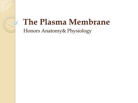 The Plasma Membrane Honors Anatomy& Physiology. Plasma Membrane boundary between inside & outside of cell flexible structure dynamic role in cellular.