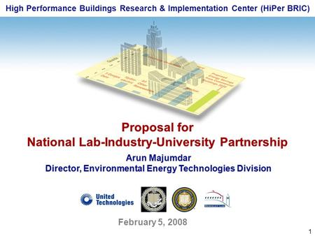 1 High Performance Buildings Research & Implementation Center (HiPer BRIC) Proposal for National Lab-Industry-University Partnership Proposal for National.