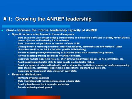 # 1: Growing the ANREP leadership Goal – Increase the internal leadership capacity of ANREP –Specific actions to implement in the next few years: State.