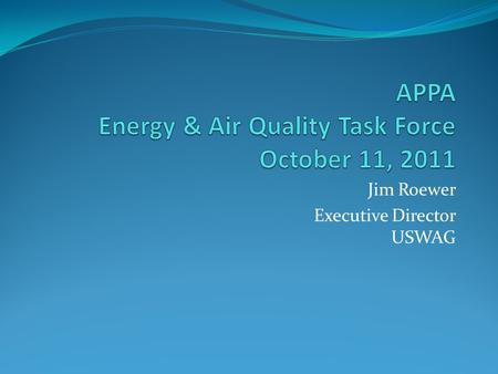 Jim Roewer Executive Director USWAG. CCR Background 1993 and 2000 Bevill Amendment Regulatory Determinations – Coal Combustion Residuals (CCR) do not.